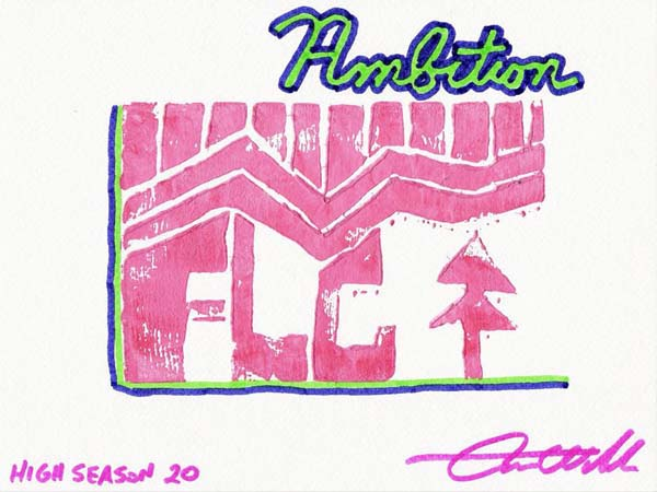 High Season 20, linoleum block print by Aaron Wilder