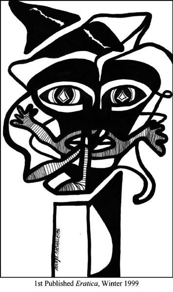 Dancing With Words, art by Denny E. Marshall, first published in Eratica, Winter 1999