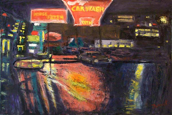 Pink Car Wash, painting by Brian Forrest