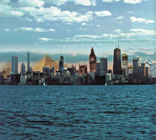 Chicago from the lake, with icons and buildings form other parts of hte world within the skyline
