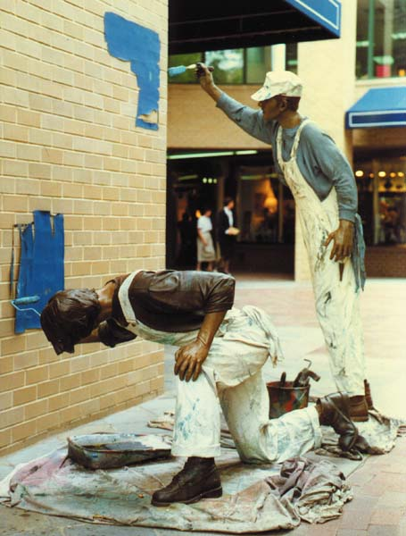 painters (statues outside at Georgetown, photograph copyright 1990-2015 Janet Kuypers