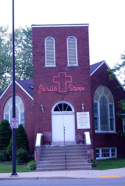 Jesus Saves - chruch neon front, photograph copyright 2011-2015 Janet Kuypers