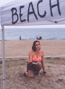 Beach Poets, kneel at the tent