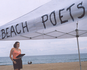 Beach Poets, under tent