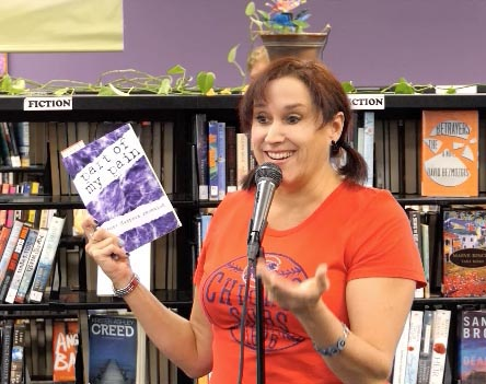 "Janet with the book ""Part of my Pain"" at Recycled Reads 10/21/17"
