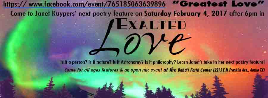 "Janet Kuypers' ""Exalted Love"" 2/4/17 poetry feature/show with background music"